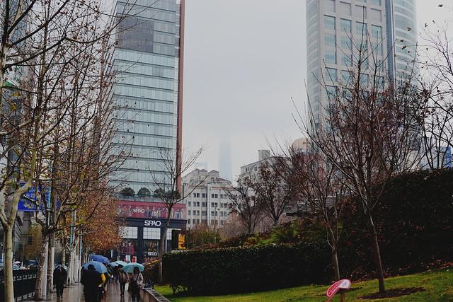 Skyscrapers hidden by fog