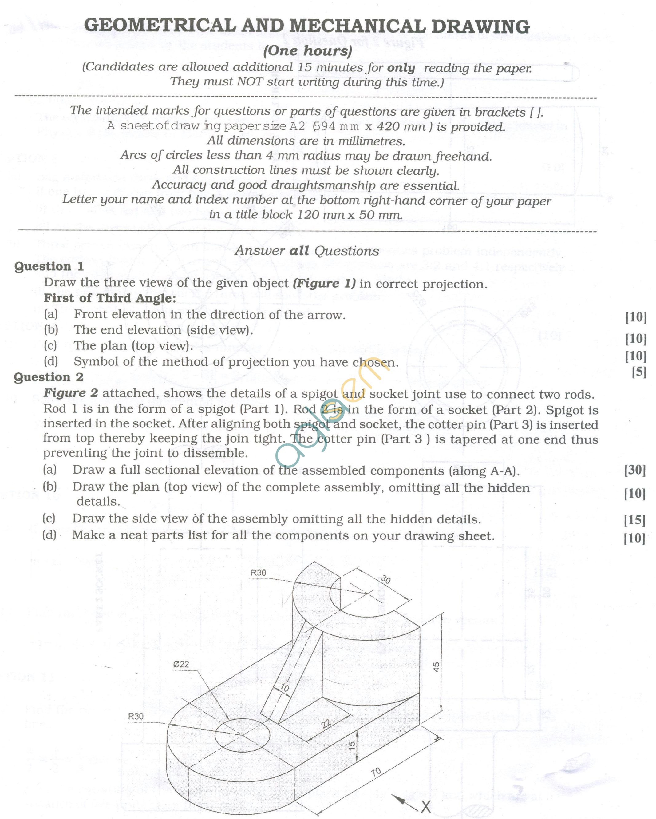 ISC Question Papers 2013 for Class 12 - Geometrical and Mechanical Drawing