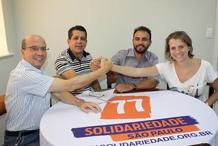 O deputado federal João Dado, o presidentes estadual David Martins, o pré-candidato a deputado estadual Alexandre Pereira e a vice-presidente estadual Carolina de Carvalho