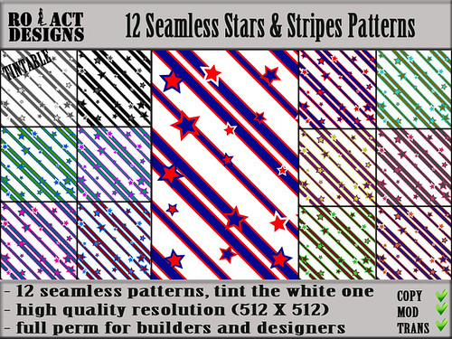 Seamless Stars & Stripes Patterns Poster