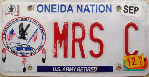 Oneida Nation US Army Retired Vanity License Plate