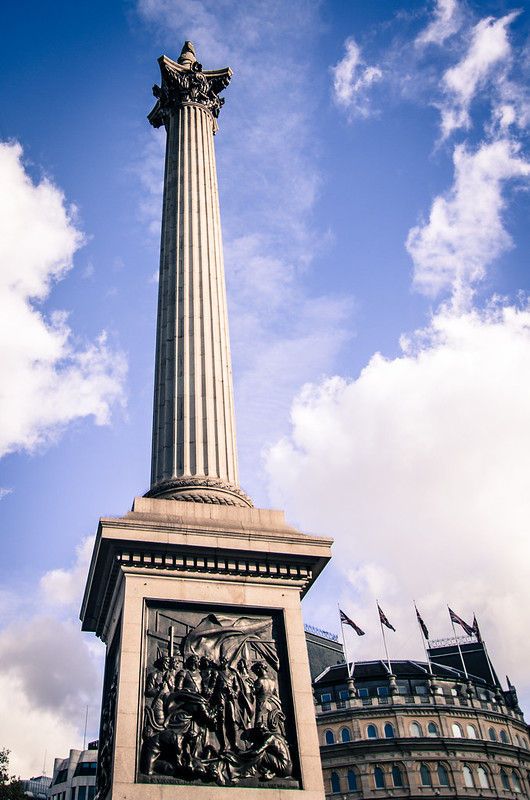 Nelson's Column marks the middle of Trafalgar Square in London.