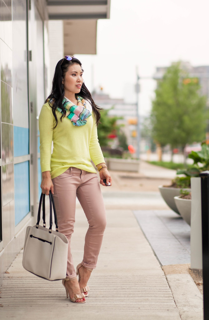 cute & little blog | petite fashion | neon yellow sweater, pink moto pants, pastel stripes infinity scarf, white piped tote, blue mirrored aviators, bow sandals | spring outfit