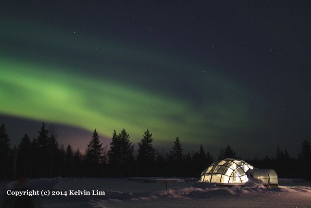Northern Lights - Aurora Borealis at the Glass Igloo Hotel in Kakslauttanen, Finland