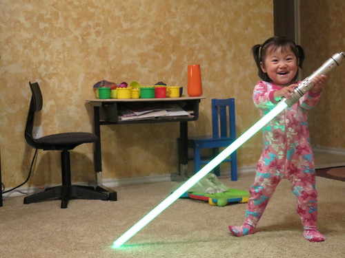 Dani with Lightsaber