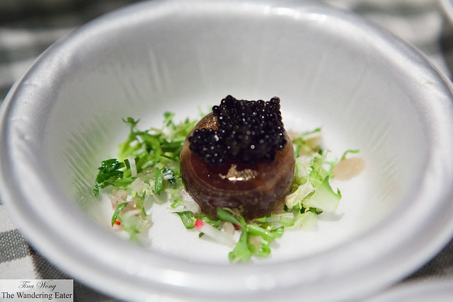 Quail egg en gelée with American caviar by Balthazar (at VIP Lounge)