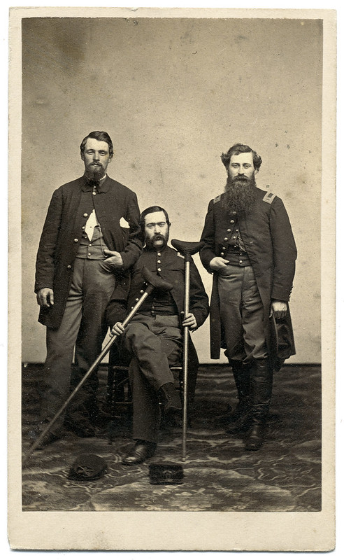 Injured Union Cavalryman Flanked by His Comrades