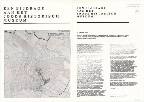 """Manifest 1987 """"EEN BIJDRAGE AAN HET JOODS HISTORISCH MUSEUM"""" de """"ieder stip = 10 Joden"""" kaart van het Amsterdams Gemeentelijk Bureau voor de Statistiek gemaakt in 1941"""
