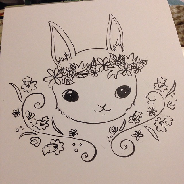 #bunny #drawing #illustration late night drawing and I am on a roll!