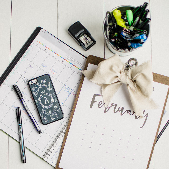 Instagram February Calendar Flatlay | Top Down Photography Tips