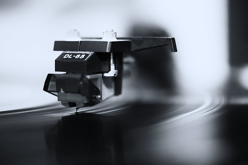 playing a vinyl record