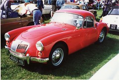 automobile, vehicle, mg mga, antique car, classic car, vintage car, land vehicle, sports car,