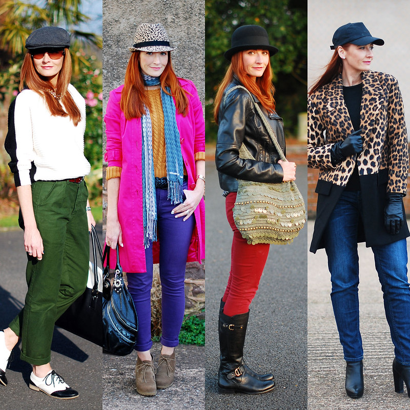 Ways to Wear Four Hat Styles: Flat cap, Leopard print trilby, Bowler hat, Baseball cap