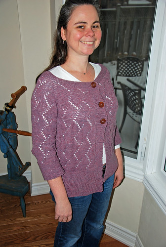 irieknit Something Silver cardigan in Elsebeth Lavold Silky Wool overdyed logwood