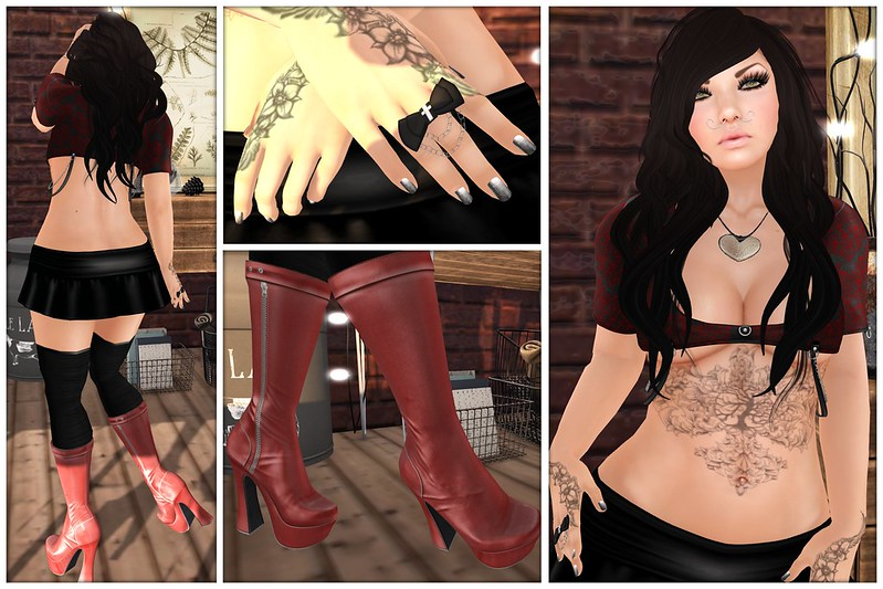 L'A, L'Anguisette, MC, MonCheri, Mon Cheri, Buzz, Buzzeri, Slink, AvEnhancement, JM, Just Magnetized, Damselfly, Pink Cherry, PMS, Thrift Shop 8.0, Depraved Events, Depraved Nation, Designer Circle, DC, Gothico, Suicide Dollz, IceWerk, IceWerk Mesh, Livalle, GCC, Geek Chic Creations, Fetch, ROMP, Elcano, Olala, ED, Eternal Dreams, The Den, Con., Consignment, CP, Cheeky Pea, floorplan, Second Life, Momma's Style, JenJen Sommerfleck