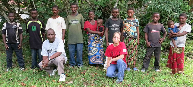 our six Mbuti botanists with a couple wives and old friend Nobi in front