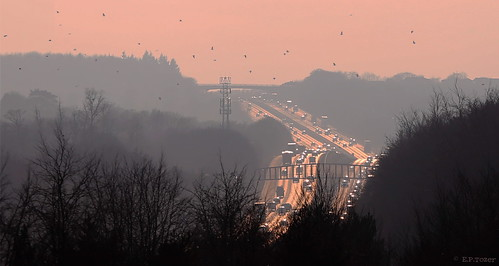 road old bridge pink trees sunset silhouette haze motorway hill hampshire plantation relection mast m3 crows basingstoke crabtree • transmitter southbound j6 basing