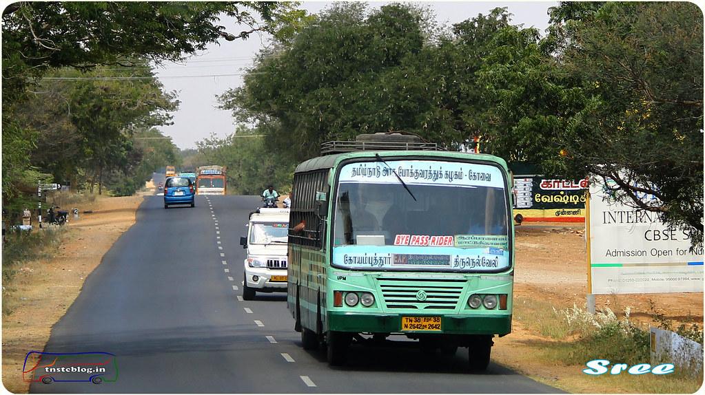 TN-38N-2642 of Uppilipalayam Depot Route  Coimbatore - Tirunelveli via Palladam, Dharapuram, Ottanchatiram, Madurai. Pic by Sree.