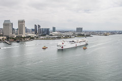 The Military Sealift Command hospital ship USNS Mercy (T-AH 19) departs Naval Base San Diego en route to the Western Pacific and this year's Pacific Partnership mission. (U.S. Navy/MC3 Christopher Veloicaza)
