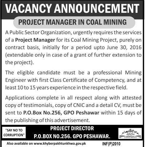 Project Manager in Coal Mining Required