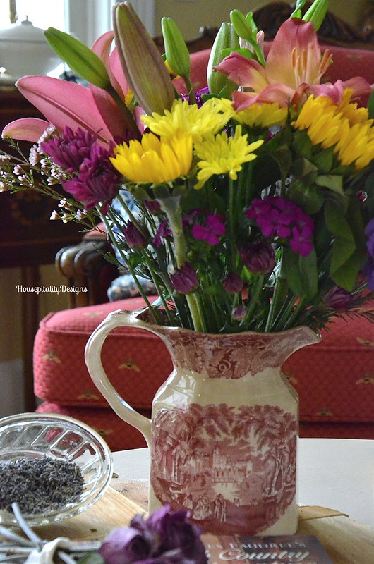 Transferware Pitcher/Flowers - Housepitality Designs