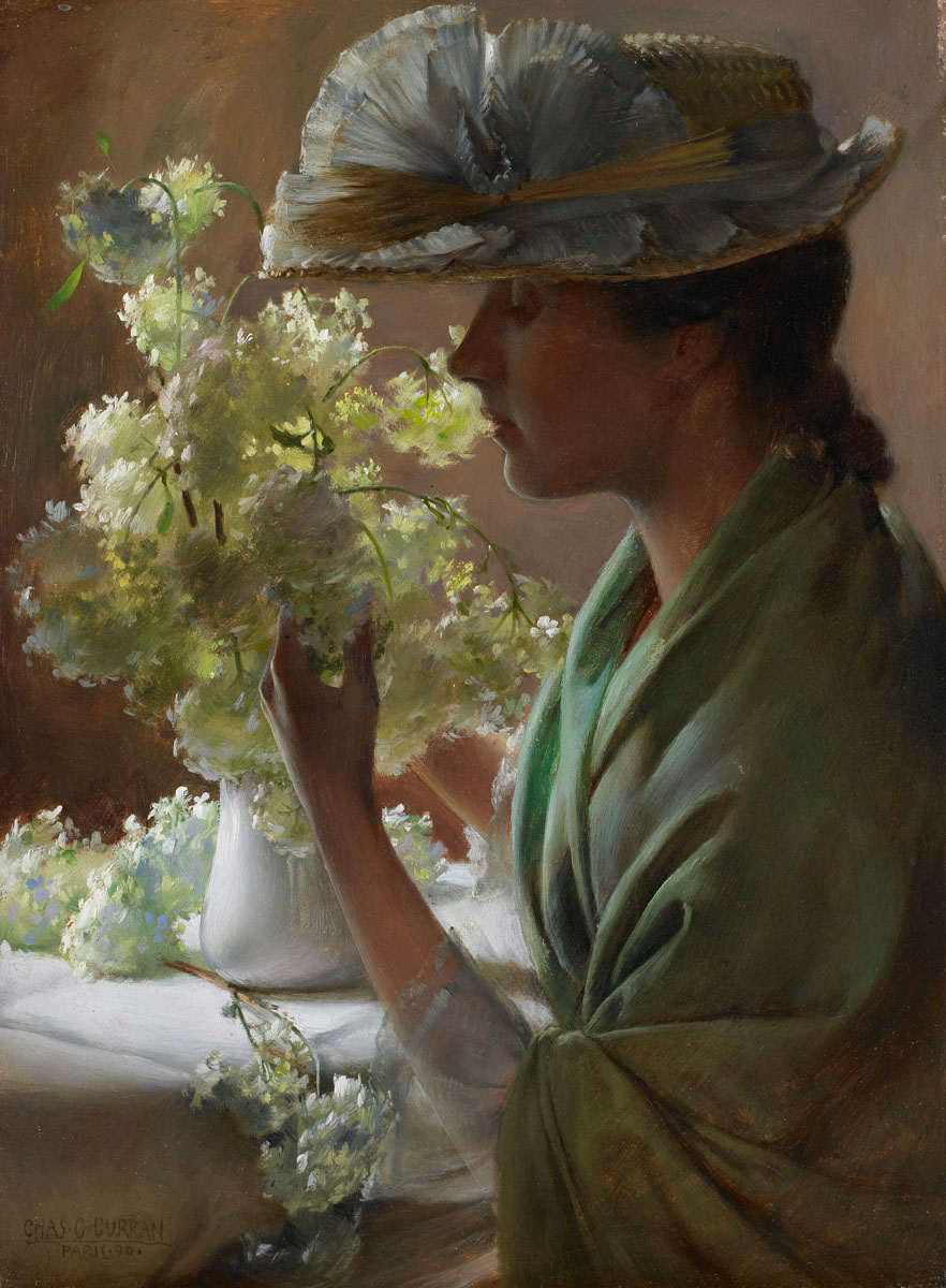 Lady with a Bouquet by Charles Courtney Curran - 1890