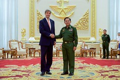 U.S. Secretary of State John Kerry shakes hands with Myanmar Commander-in-Chief Min Aung Hliang on May 22, 2016, before a bilateral meeting at the Commander-in-Chief's Compound in Naypyitaw, Myanmar. [State Department photo/ Public Domain]