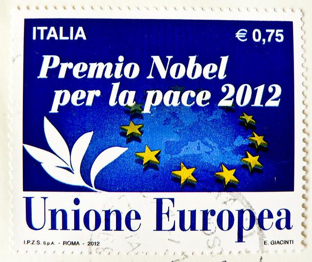 great stamp Italy € 0.75 Eurpean Union Nobel Prize for Peace 2012 (Unione Eurpea - Premio Nobel per la pace 2012; Friedensnobelpreis für die EU 2012; prix Nobel de la paix, premio Nobel de la Paz, Но́белевская пре́мия ми́ра) postzegel Italy francobollo
