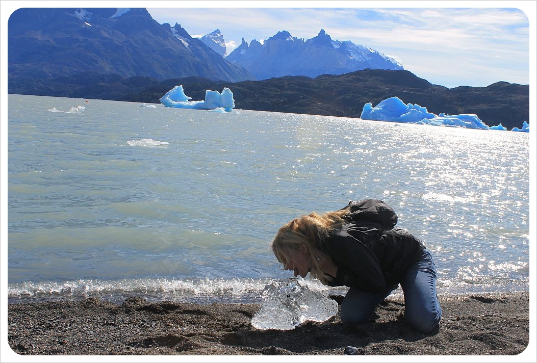 torres del paine eating ice