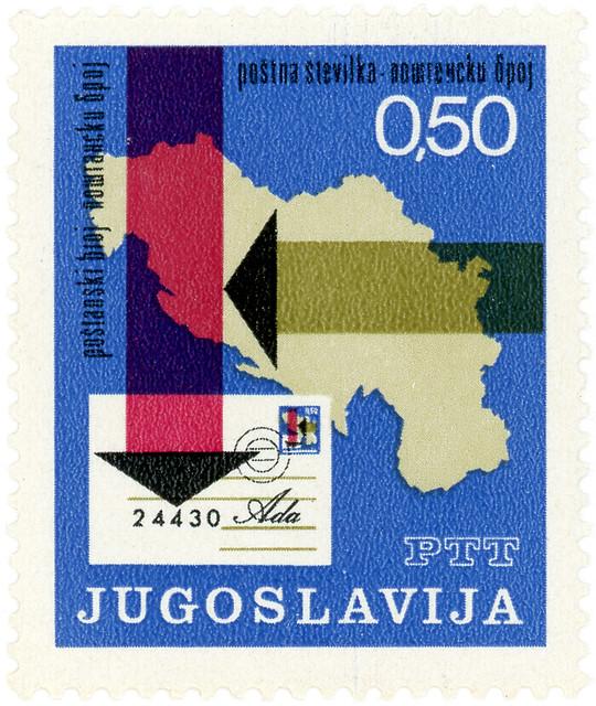 Yugoslavia postage stamp: postal codes