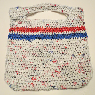 Red White and Blue Striped Plarn Tote