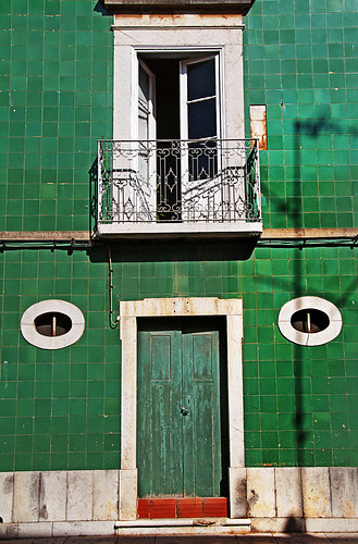 Tavira green tiles by Alida's Photos