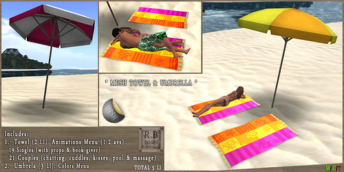 NEW ON SALE ! *RnB* Mesh Towel & Umbrella - Single & Couples - Fun (c)