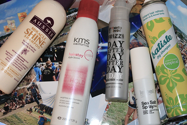 Festival hair essentials featuring Aussie miracle shine, KMS california hair stay style boost, label.m sea salt spray, umberto giannini frizzi extreme taming spray and batiste dry shampoo in tropical