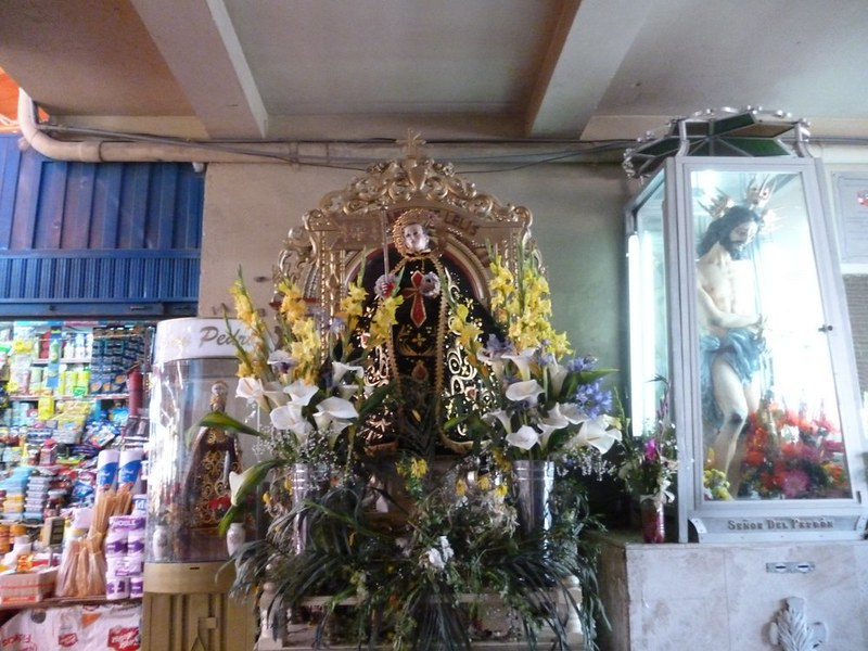 San Camilo's shrine at the market with his name