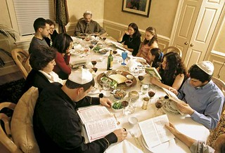 A Jewish family celebrates the Pesach