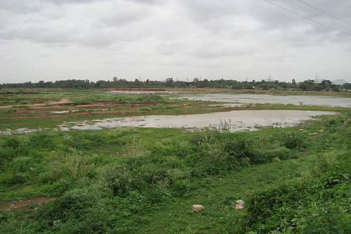 A tank which was an open field last year, holds some water today - Naagarakere during 2013 monsoon