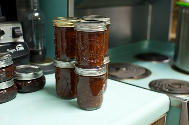 finished honey sweetened tomato jam