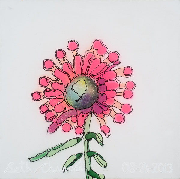 Hot Pink Echinacea (20 x 20 spraypaint on canvas)