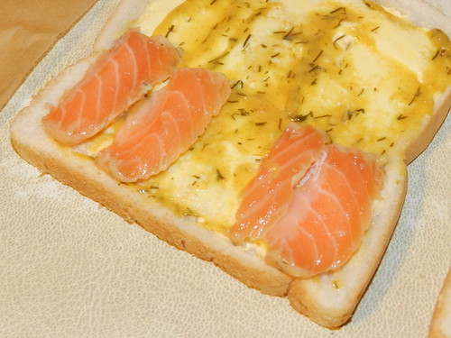 Cured salmon on white bread