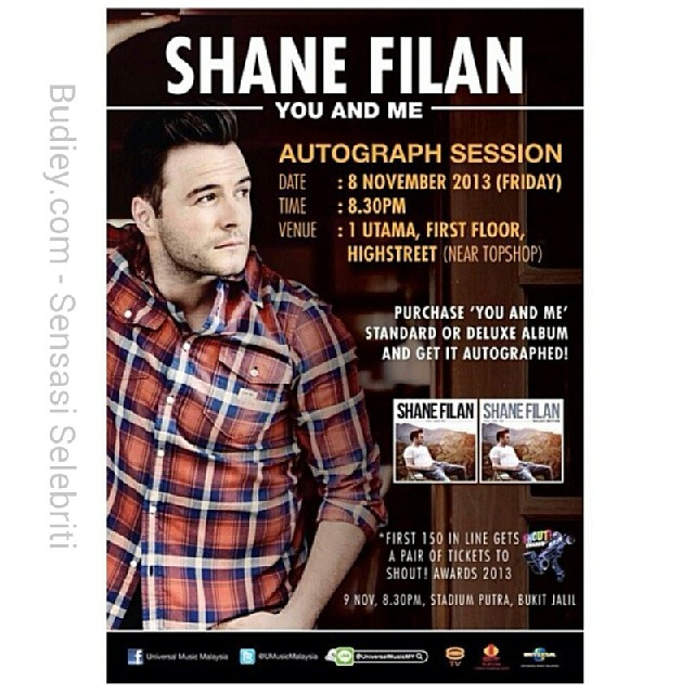 "Shane Filan (formerly from Westlife) Autograph Session. Details below:-   Date:   8th November 2013 Time:   8.30pm Venue: 1Utama, First Floor, Highstreet (next to Topshop)   Shane will be performing couple of songs from his new album ""You And Me""."