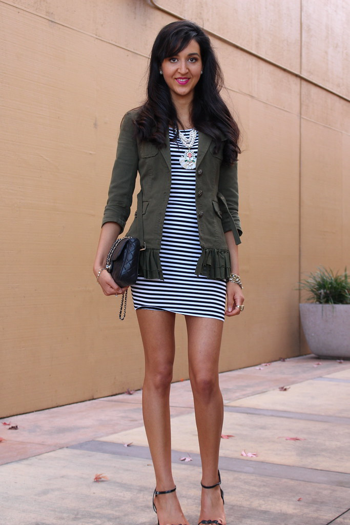 Military Jacket and a Striped Dress 5
