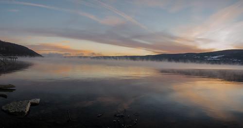 morning winter panorama reflection water beautiful sunrise panoramic fingerlakes keuka