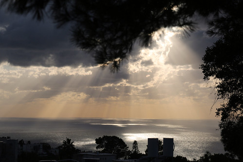 travel trees winter light sea sky cloud sun storm tourism water sunshine clouds landscape israel mediterranean ray view air places rays haifa acqua