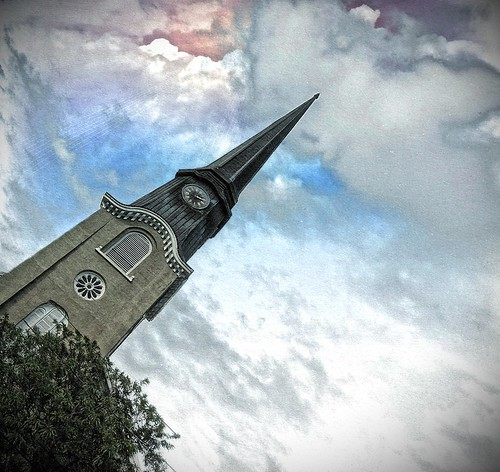 sunset sky ny rome tower clock church st clouds court downtown w first steeple spire hdr presbyterian 108 oneidacounty onasill