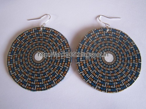 Handmade Jewelry - Card Paper Disk Earrings (11) by fah2305