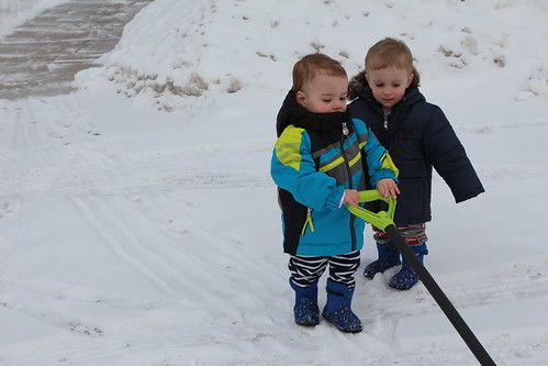 Martin and Elliott Shoveling