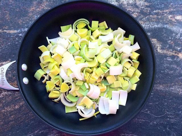 Sliced Leeks Added to Saute Pan