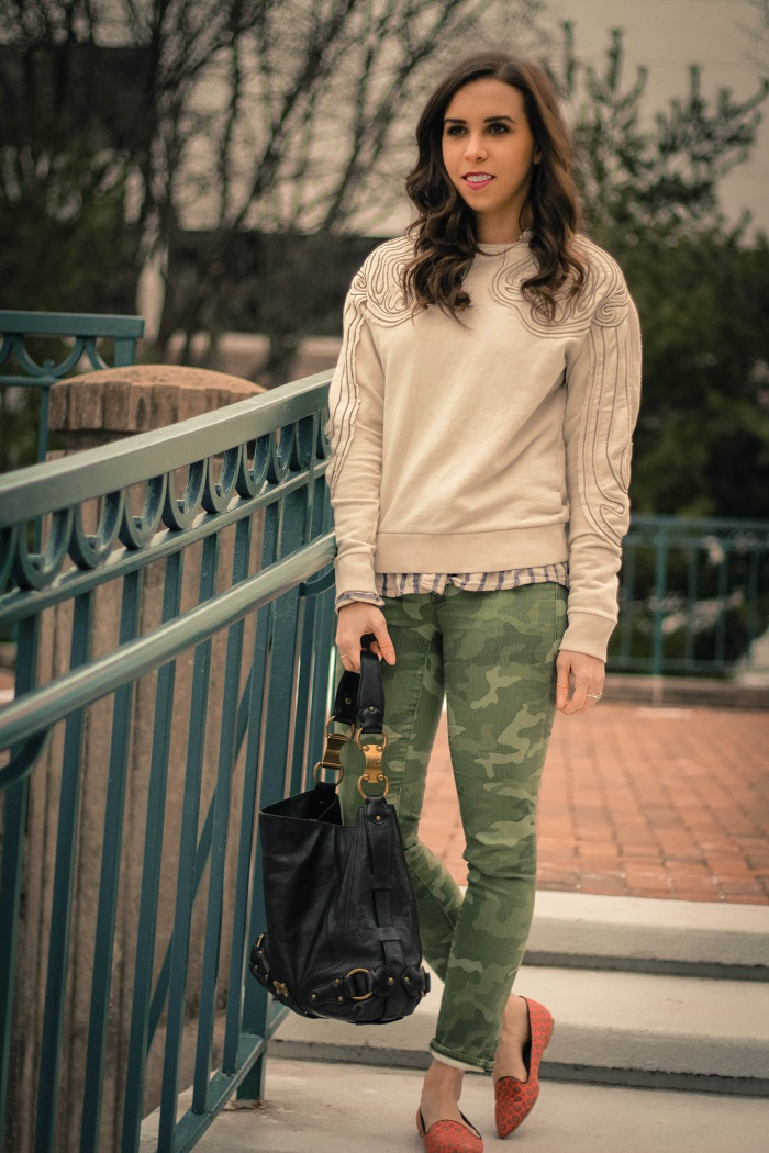 va darling. dc blogger. virginia personal style blogger. beaded sweatshirt. camo pants. printed silk flats.1