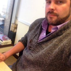 Chillin' at work in my new hand knit sweater